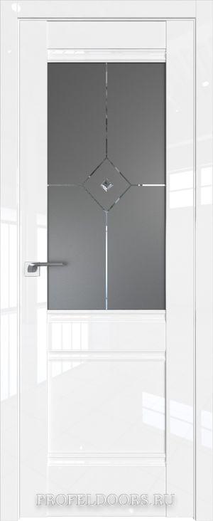 2L Белый люкс Узор графит с прозрачным фьюзингом(ромб)